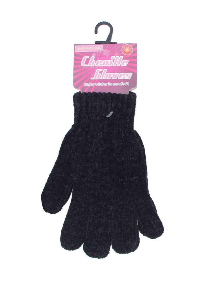 Ladies chenille gloves black GL248394